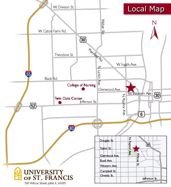 Saint Francis University Campus Map.Map To The University Of St Francis